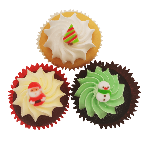 Christmas Cupcakes with Decorative Seasonal Topper